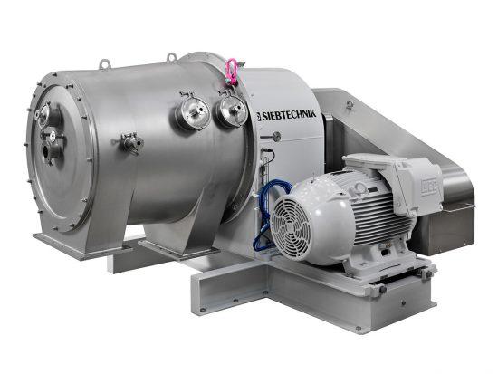 Dekantierzentrifuge SHORTBOWL SBD 600 Seitenansicht der Einzelmaschine in der Ausführung für Lactose mit Antriebsmotor und Getriebegehäuse