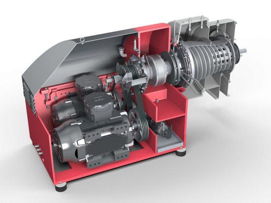 Siebdekanter CONTHICK - Ansicht auf Motor, Getriebe und Siebtrommel (Vereinfachte Darstellung)
