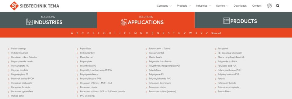 "SIEBTECHNIK TEMA Applications - ""Home"" page application tab - Applications starting with the letter ""P"""